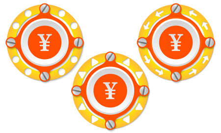 perforated: Set of three icons with perforated ring and yen symbol Illustration