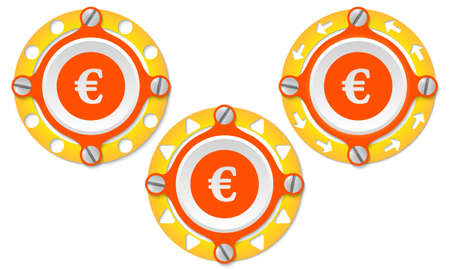 euro screw: Set of three icons with perforated ring and euro symbol