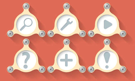 six objects: Set of six vector objects and icons