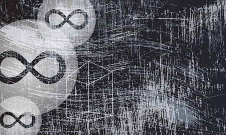 infinity symbol: transparent geometry objects and infinity symbol and scratched background