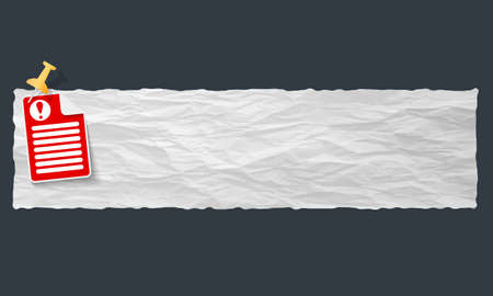 banner with crumpled paper and exclamation mark Vector