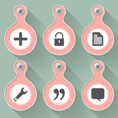 six objects: Set of six vector objects with icons Illustration