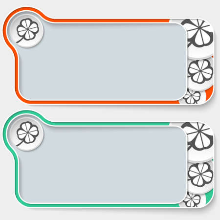 cloverleaf: set of two abstract text boxes and cloverleaf