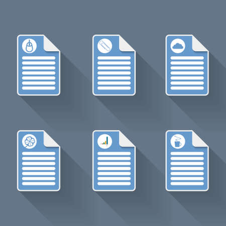 lucky break: Set of six document icon and symbols