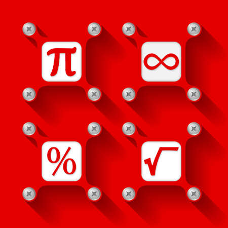 square root: Four red  objects with screws and icons