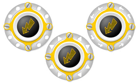 perforated: Set of three icons with perforated ring and flash symbol Illustration