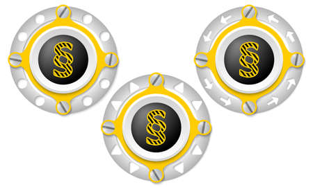 annular: Set of three icons with perforated ring and paragraph symbol Illustration