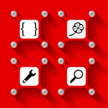 four objects: Four red  objects with screws and icons
