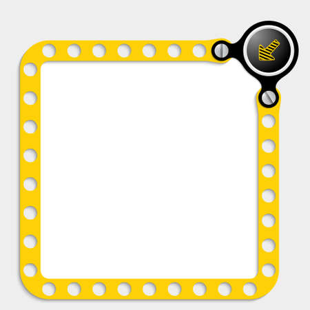 perforated sheet: yellow frame for text with screws and arrow Illustration