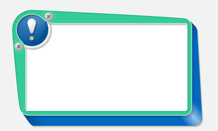 signo de admiracion: cuadro de vector verde con tornillos y signo de exclamaci�n