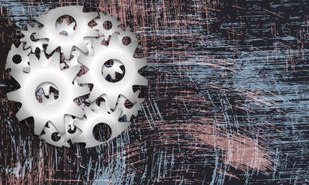 metal sprockets and abstract scratched background Vector