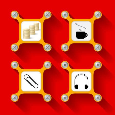 intermission: abstract yellow objects and screws and symbols Illustration