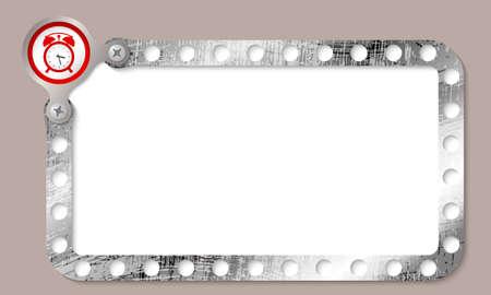 metal frame: metal frame for entering text and red alarm clock Illustration