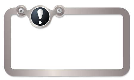 signo de admiracion: marco de texto de metal para el texto y signo de exclamaci�n Vectores