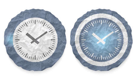 annular: two icons with texture crumpled paper and watches