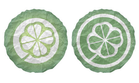 cloverleaf: two icons with texture crumpled paper and cloverleaf