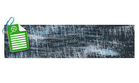 scratches: banner with scratches background and document and cloverleaf Illustration