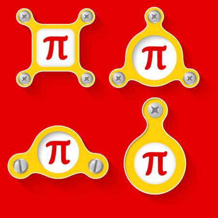 simbolos matematicos: resumen objetos y tornillos amarillo y s�mbolos matem�ticos Vectores