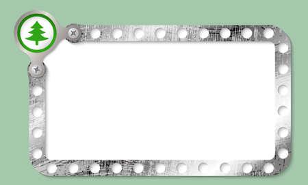 metal frame: metal frame for entering text and tree symbol