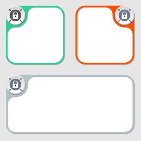 annular: set of three vector frames and padlock