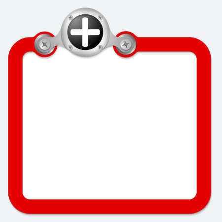 plus symbol: red frame for text and plus symbol