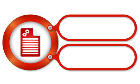 cogwheels: red frames and document icon and cogwheels Illustration
