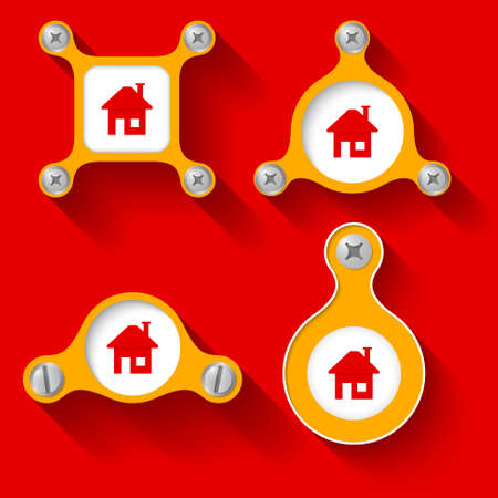 bolt head: abstract yellow objects and screws and home icon Illustration