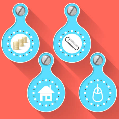 four objects: Colored four abstract vector objects and icons