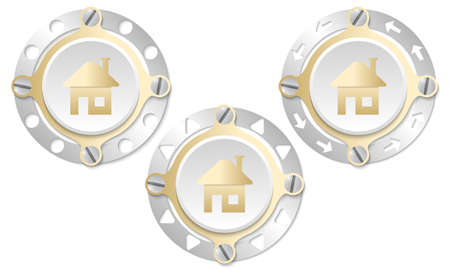 annular: Set of three icons with perforated ring and home icon