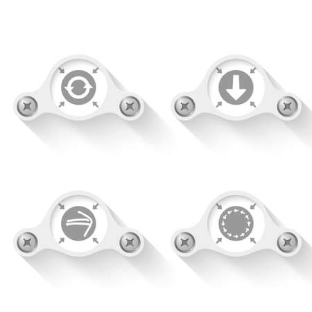 steel head: white abstract vector objects and arrows