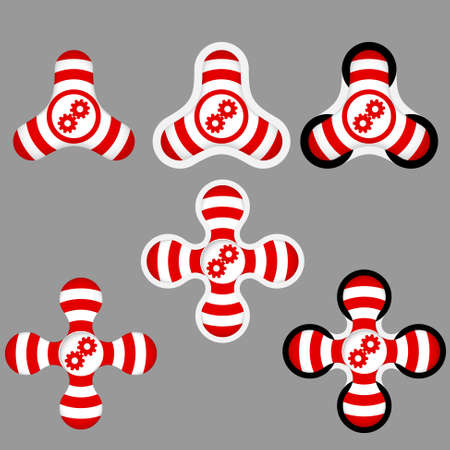 sprockets: abstract red and white icons and cogwheels