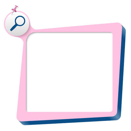 pink text box and blue magnifier Vector