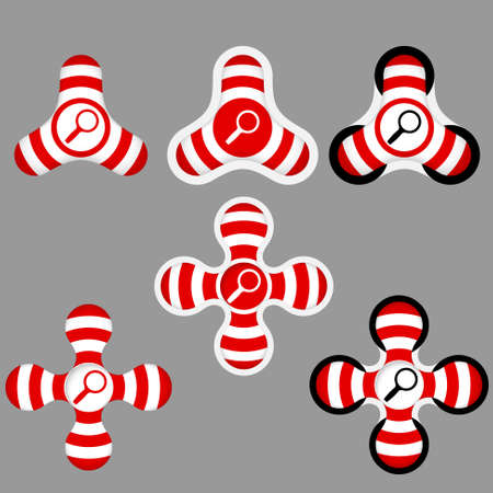 annular: abstract red and white icons and magnifier