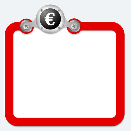 euro screw: red frame for text and euro symbol