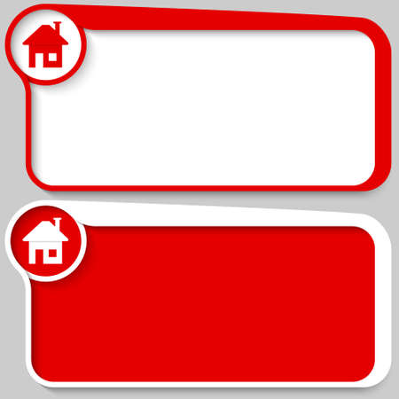 set of two vector text box and home symbol Vettoriali