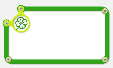 cloverleaf: green frame for text with screws and cloverleaf
