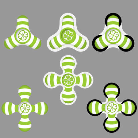 cloverleaf: abstract green and white icons and cloverleaf