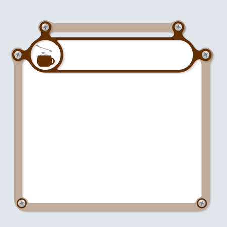 intermission: brown frame for text with screws and frame for headline Illustration