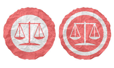 two icons with texture crumpled paper and law symbol