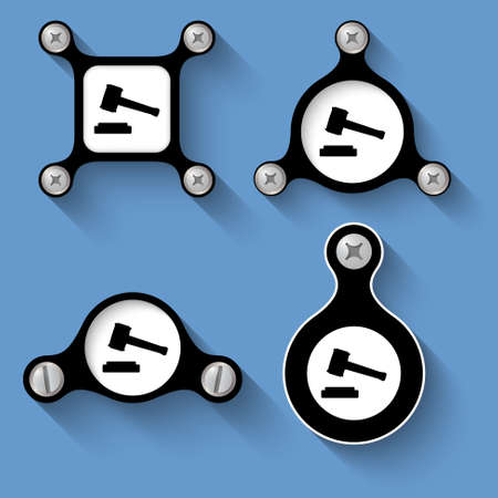 bolt head: abstract black objects and screws and law symbol Illustration