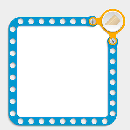 bolt head: blue frame for any text with screws and envelope Illustration