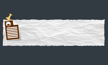 intermission: banner with crumpled paper and cup of coffee Illustration