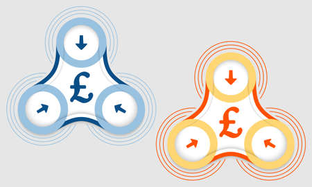sterling: Two vector objects and pound sterling symbol Illustration