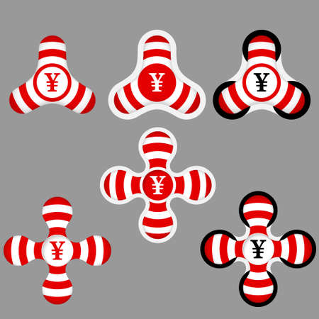 annular: abstract red and white icons and yen symbol