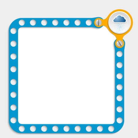 perforated sheet: blue frame for any text with screws and cloud