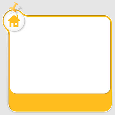 yellow pushpin: yellow text box with pushpin and home icon Illustration
