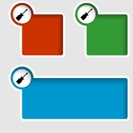 text boxes: set of three text boxes with screwdriver Illustration