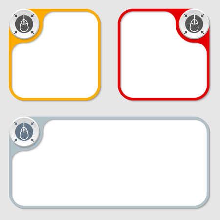 set of three vector frames and mouse icon Ilustração