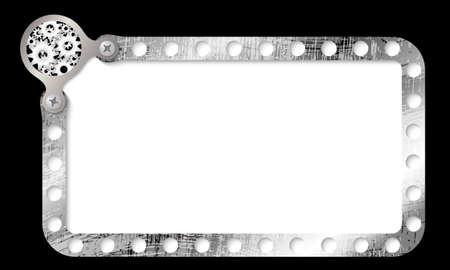 metal frame: metal frame for entering text and cogwheels
