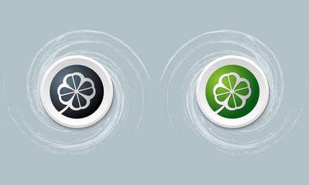 cloverleaf: set of two icon and cloverleaf Illustration